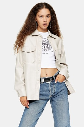 Topshop Womens Taupe Faux Leather Shirt - Taupe