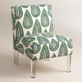 Randen Upholstered Chair in Green Prints - Acrylic Legs