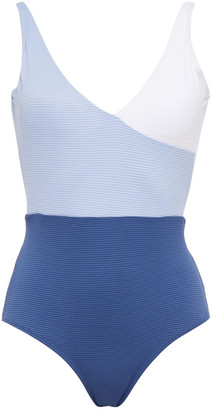 Duskii Belted Ribbed Two-tone Swimsuit