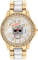 Betsey Johnson Watch, Women's White Acetate and Gold-Tone Bracelet 40mm BJ00246-05