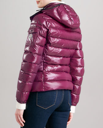 Moncler Short Puffer Jacket with Hood, Berry