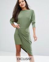 Club L Slashed Neck Midi Dress with Wrap Skirt