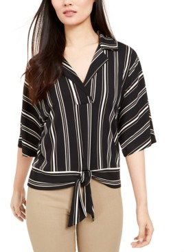 Alfani Striped Kimono Tie-Front Top, Created for Macy's