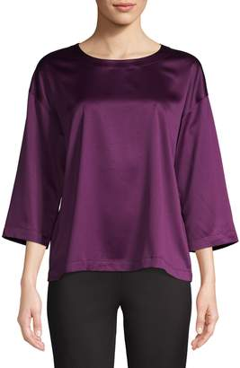 Eileen Fisher Bell-Sleeve Satin Top