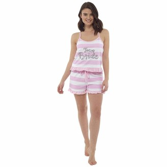 Undercover Lingerie Womens Team Bride Pyjamas Set LN856 Pink Stripe 16-18