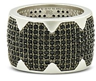 Freida Rothman Industrial Finish Pave Cigar Ring in Rhodium-Plated Sterling Silver