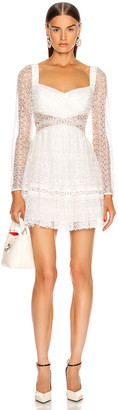 Self-Portrait Lace Cut Out Mini Dress in White | FWRD