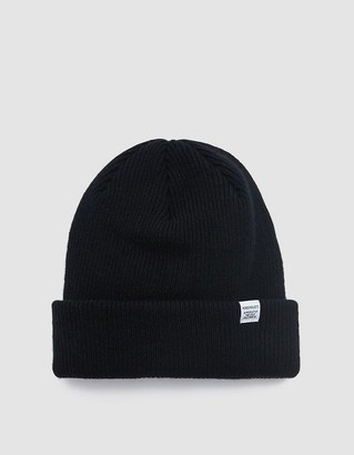 Norse Projects Men's Norse Beanie Hat in Black | Wool