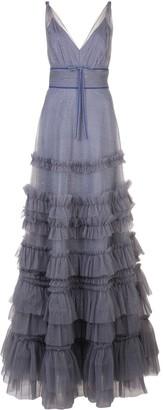 Marchesa ruffled glitter-embellished gown