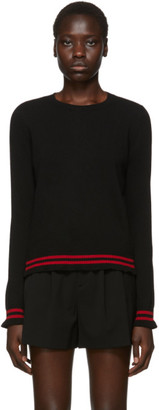 RED Valentino Black Ruffled Sleeves Sweater