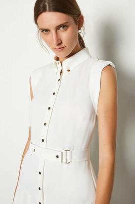 Karen Millen Soft Military Flippy Belted Dress