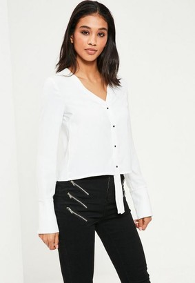 Missguided Longline Placket Long Sleeve Blouse