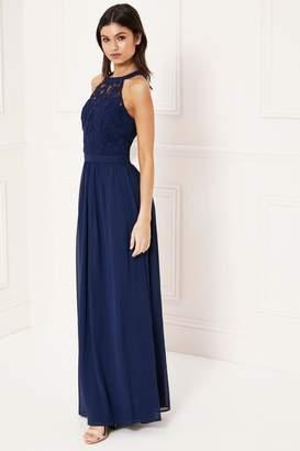 Lipsy Halter Lace Dress - 8 - Blue