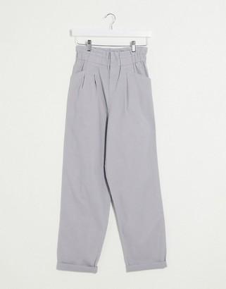 ASOS DESIGN paperbag waist chino pants in gray