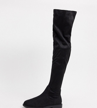 ASOS DESIGN Wide Fit Kennedy flat knee boots in black
