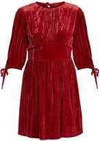 ALEXACHUNG Round-neck crushed-velvet mini dress