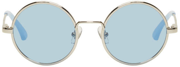 Dries Van Noten Silver and Blue Linda Farrow Edition 155 C5 Sunglasses