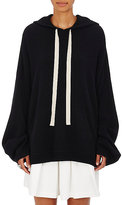 R/R Studio by Robert Rodriguez Women's Stockinette-Stitched Wool-Cashmere Cutout Hoodie-BLACK