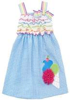 Rare Editions Turquoise/ White Seersucker Dress With Ice Cream Applique