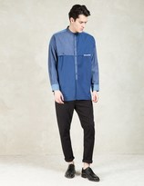 Factotum Blue L/S Crewneck Patch Denim Shirt