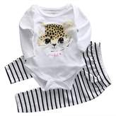 honeys Infant Baby Girl 2pcs Suit Long Sleeve Romper+Black and Striped Long Pants (L(6-12months), )