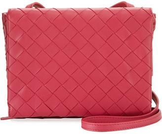 Bottega Veneta Intrecciato Leather Flap Wallet On Chain Crossbody