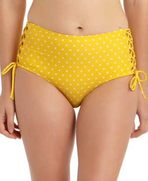 California Waves Juniors' Dotted Lace-Up High-Waist Bikini Bottoms, Created For Macy's Women's Swimsuit