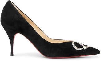 Christian Louboutin CL Pump Strass 80 black suede pumps