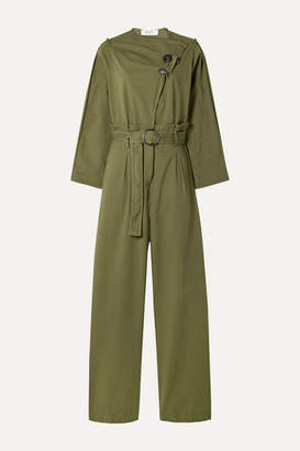 Sea Scout Belted Cotton-blend Jumpsuit - Army green