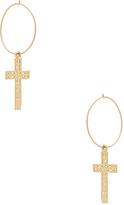 ERTH Small Cross Hoop Earring in Metallic Gold.