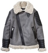 Diesel Grey Faux Shearling Biker Jacket with Mohican Print
