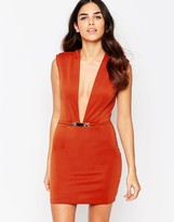 Rare Bodycon Dress With Deep Plunge