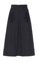 Luisa Beccaria Denim And Lace Midi Skirt