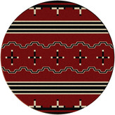 Dakota American Big Chief Rug, Red, 8'x8' Round, Round