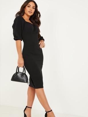 Quiz Ruched Bodycon Midi Dress - Black