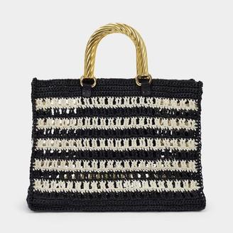 MEHRY MU Lucia Bag In Black And Cream Raffia