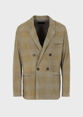 Emporio Armani Double-Breasted Jacket In Suede Kidskin With Silkscreen Motif