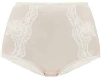 Dolce & Gabbana Lace-panelled Silk-blend Satin Briefs - White