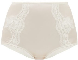 Dolce & Gabbana Lace-panelled Silk-blend Satin Briefs - Womens - White