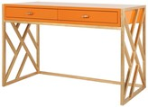 The Well Appointed House Worlds Away Cordelia Orange Lacquer Desk with Gold Leaf Lattice Base