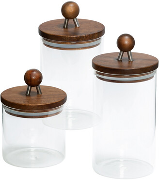 Honey-Can-Do 3Pc Acacia Canisters