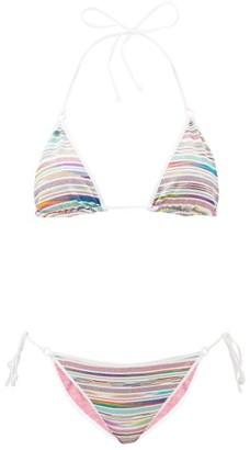 Missoni Mare Glitter-stripe String Bikini - White Multi