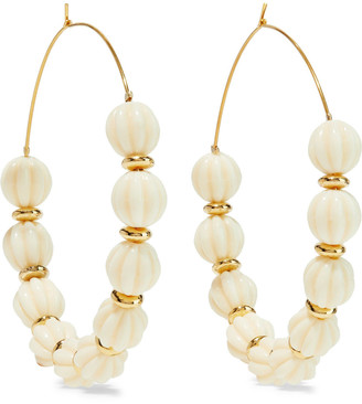 Kenneth Jay Lane Gold-plated Beaded Hoop Earrings