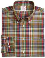 Brooks Brothers Regular Fit Green and Brown Madras Sport Shirt