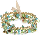lonna & lilly Gold-Tone Blue and Green Shaky Stretch Bracelet