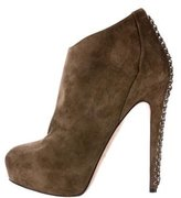 Brian Atwood Suede Chain-Link Ankle Boots