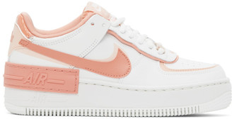 Nike White and Pink Air Force 1 Shadow Sneakers