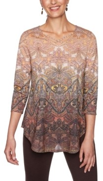 Ruby Rd. Plus Size Ombre Baroque Paisley Print Top