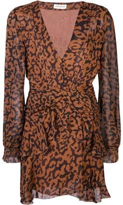 Nicholas leopard print ruffle-trimmed dress