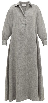 ASCENO Porto Linen Maxi Dress - Grey